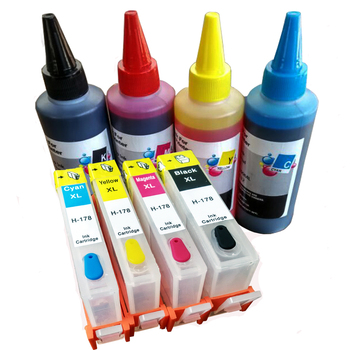 4buc Color hp 178 refillable cartuș + 400ML cerneala Dye pentru Compatibil HP 5510 5520 6510 6520 7510 7520 e-All-in-One Printer 81083